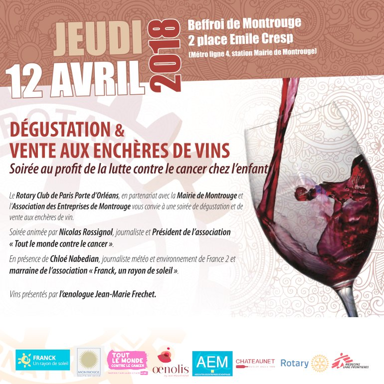 Dégustation et vente aux enchères de vin au profit de la lutte contre le cancer chez l'enfant.
