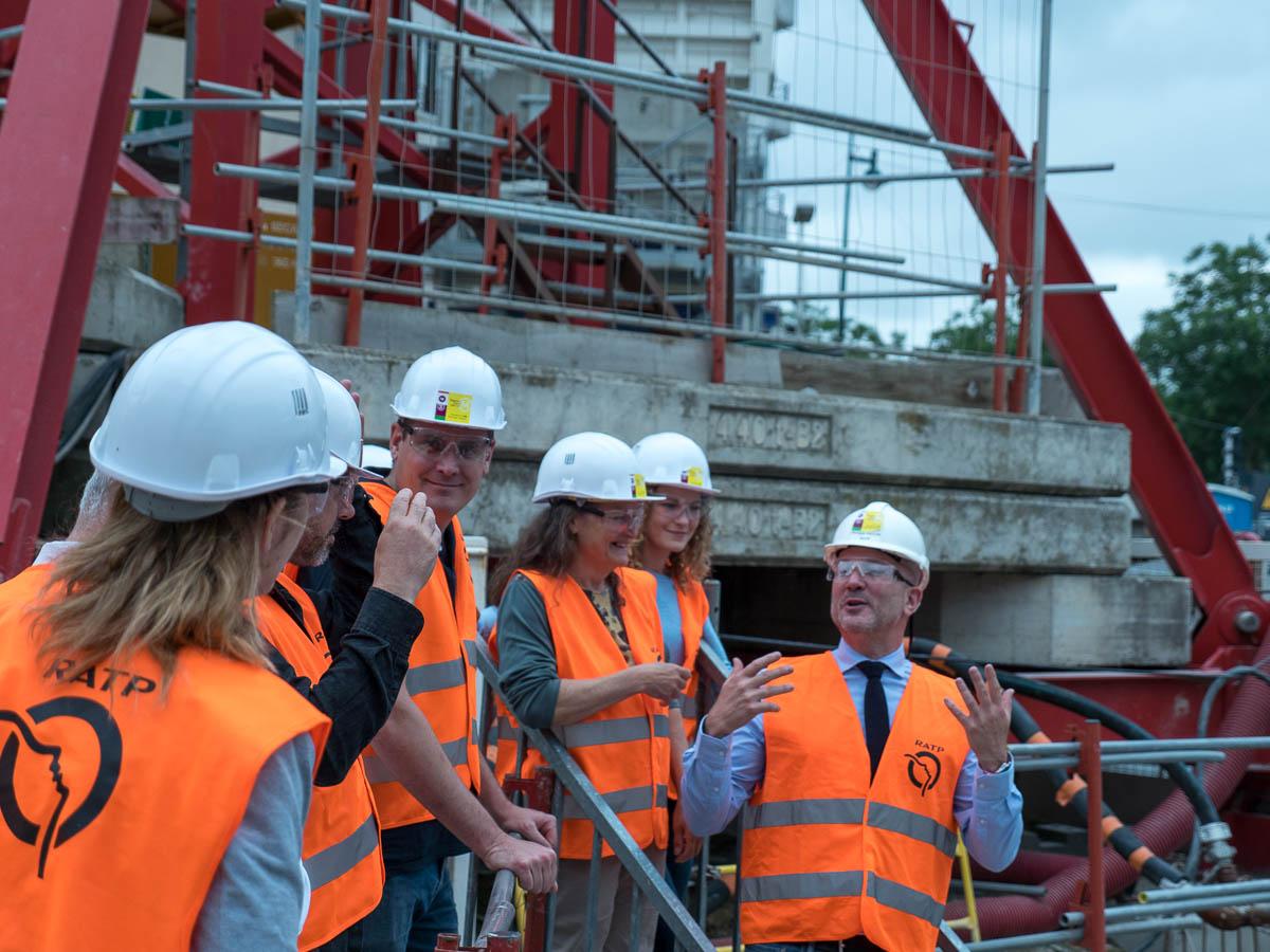 Visite du chantier de prolongement de la ligne 4 du métro pour les adhérents de l'AEM